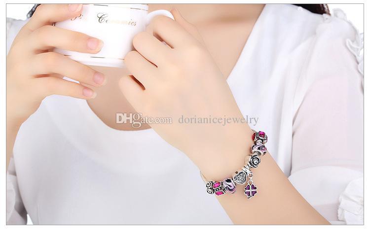 New Charm Bracelets with Murano Glass Beads & Silver Charms & Enamel Four-leaf Clover Dangle Fashion Bangle Bracelets BL055