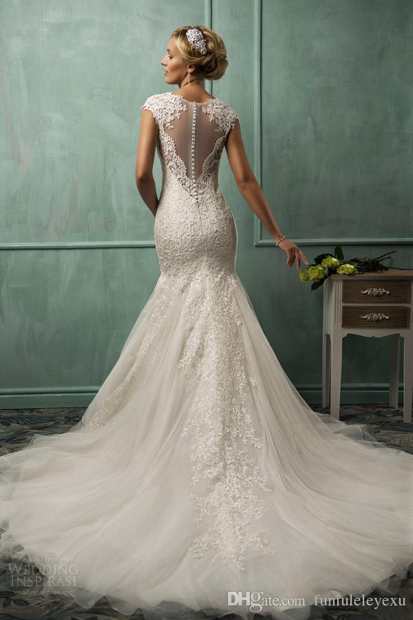 2015 Amelia Sposa V Neck Cap Sleeve Mermaid Wedding Dresses Lace Tulle Appliqued Sheer Backless Plus Size 2015 Bridal Gown