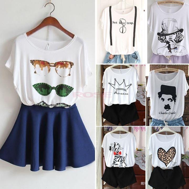 Korean Style 7 Types Women'S White Printed T Shirts Women Round ...