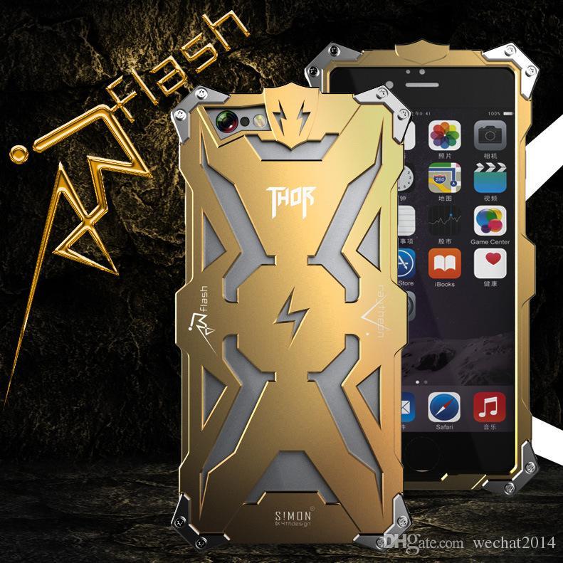 Armadura de alumínio thor case capa o flash homem de ferro phone shell protetora da pele saco para iphone 6 plus 6 s plus 7 além de