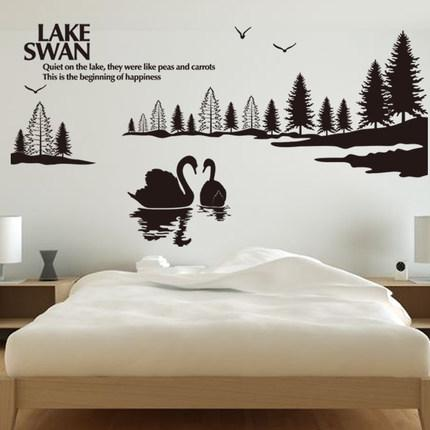 landscape fall large lake swan wall stickers, swan wall decals home
