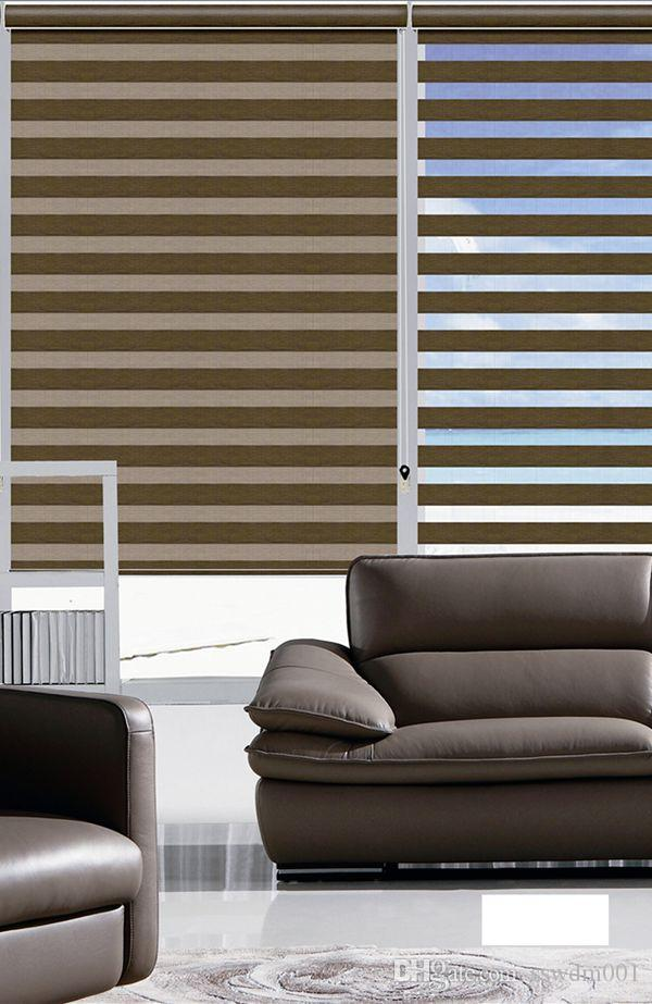 2017 Customized Size Double Layer Translucent Roller Zebra Blinds In Dark Khaki Curtains For Living Room From Sswdm001 1134