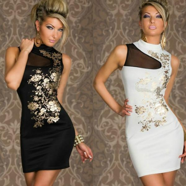 2018 Fashion Sexy Summer Dresses For Women Gold Flower Print Mini