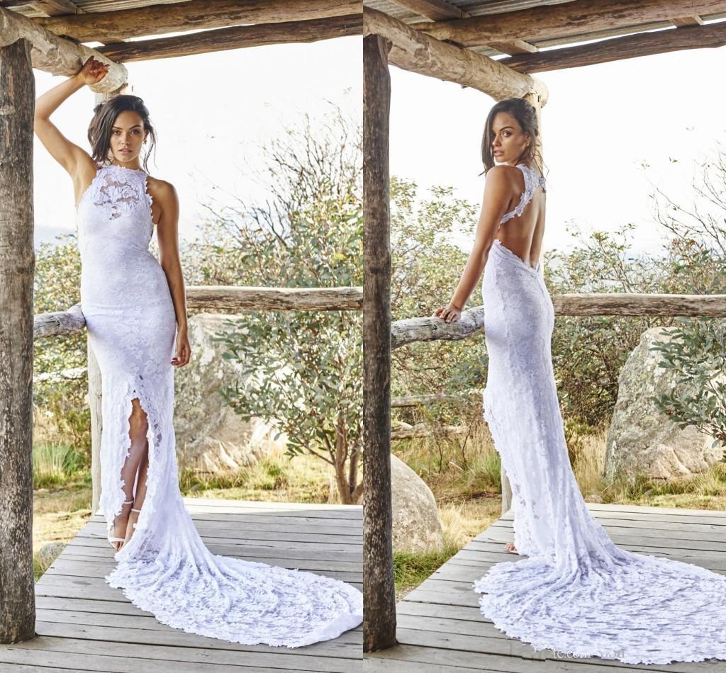 Open Back Sheath Wedding Dress