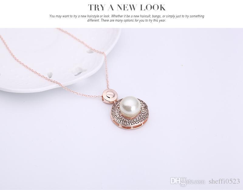 최신 18K 골드 진주 목걸이 귀걸이 쥬얼리 세트 패션 여성 최고의 선물 라운드 모양의 보석 세트 61152099
