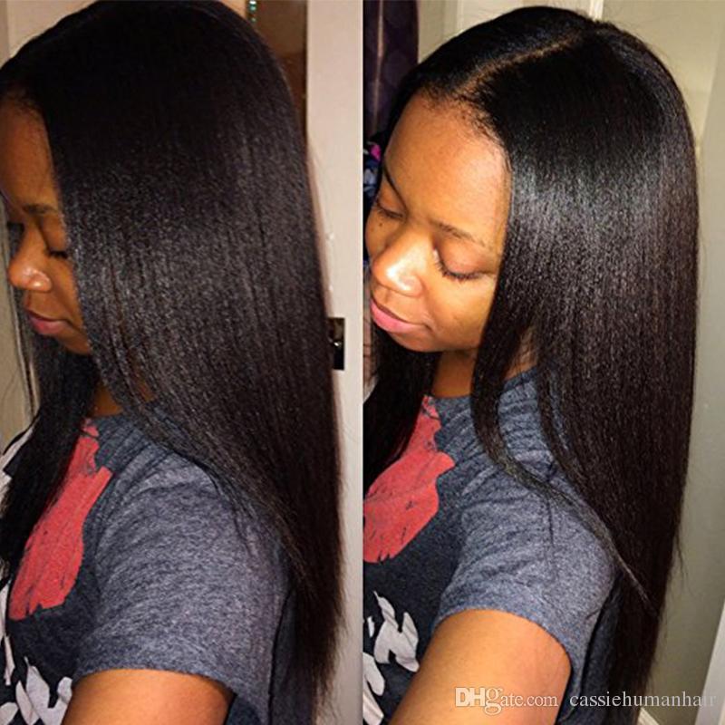 130 Density Italien Full Lace Perruque de cheveux humains pour les femmes noires Femme Brésilienne de cheveux sans colle Lumière Yaki Straight Lace Front perruque avec les cheveux de bébé