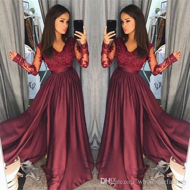 2018 Sexy BurgundyV Neck Lace Sheer Long Sleeves Prom Dresses Satin A Line  Floor Length Evening Gowns Formal Party Dresses Vestidos De Festa Silver  Prom ... ad061f7ec5e1