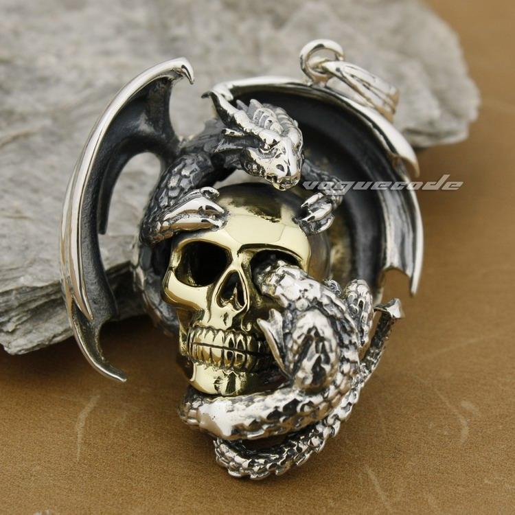 Ogromny ciężki skrzydło smok na czaszce 925 Sterling Silver Mens wisiorek 8B006 Naszyjnik 24 cali