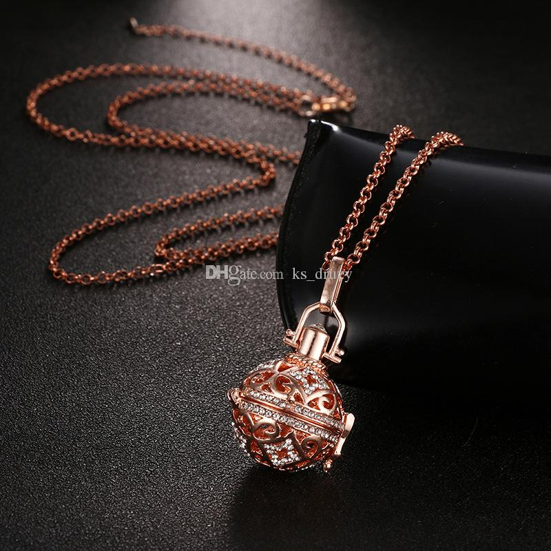 Fashion Perfume Essential Oil Diffuser Locket Necklace Open Pendant Charms with chain 1 felt Cotton Ball DIY Pregnancy Sound Jewelry