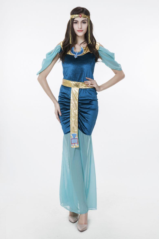 2017 New Adult Egyptian Goddess Blue Dress Sexy Cosplay ...
