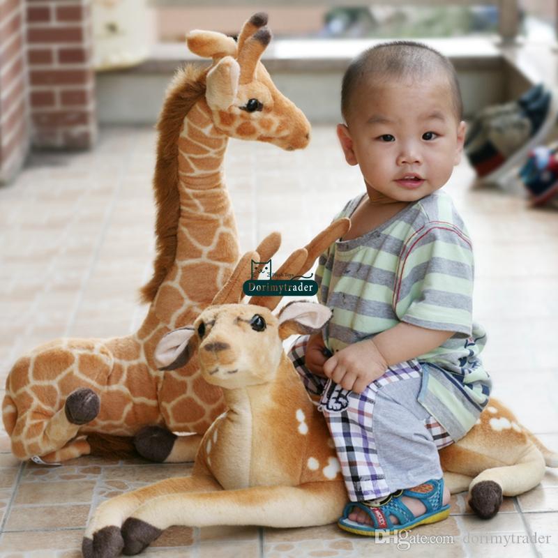 Dorimytrader 95cm X 70cm 새로운 거대한 에뮬레이트 사슴 장난감 플러시 소프트 박제 대형 동물 사슴 인형 좋은 아기 선물 무료 배송 DY60971