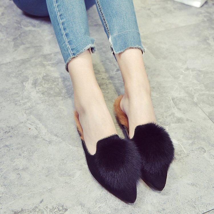 2017 Zapatillas de Mujer Otoño Invierno Talón Plano 100% Zapatillas de Piel Real Deslizamiento En Piel de Conejo Puntiagudas Pisos Fuera de Mocasines