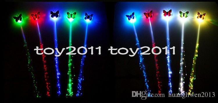 Moda Yeni 2016 200 adetgrup Işık Up Oyuncaklar Kızlar Renkli Kelebekler Led Yenilik Glow Fiber Örgü Gece Headdress rave cadılar bayramı süslemeleri