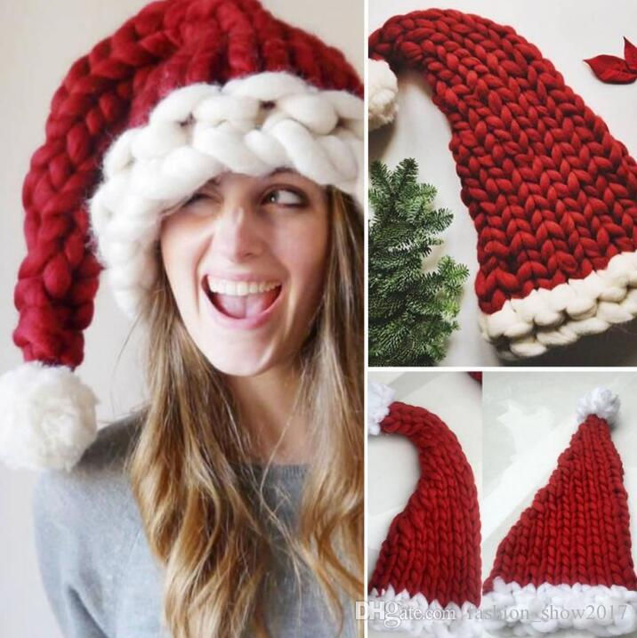 Adult Decorative Christmas Hat Santa Claus Hats Kids Gifts Children Soft Knit Xmas Decoration Sata Caps With Ball