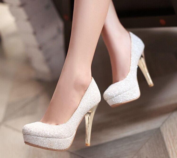 Glitter Lady Spring Chaussures Habillées Plateforme À Talons Aiguilles Talons Aiguilles Or Blanc Robe De Mariée Mariage Soirée