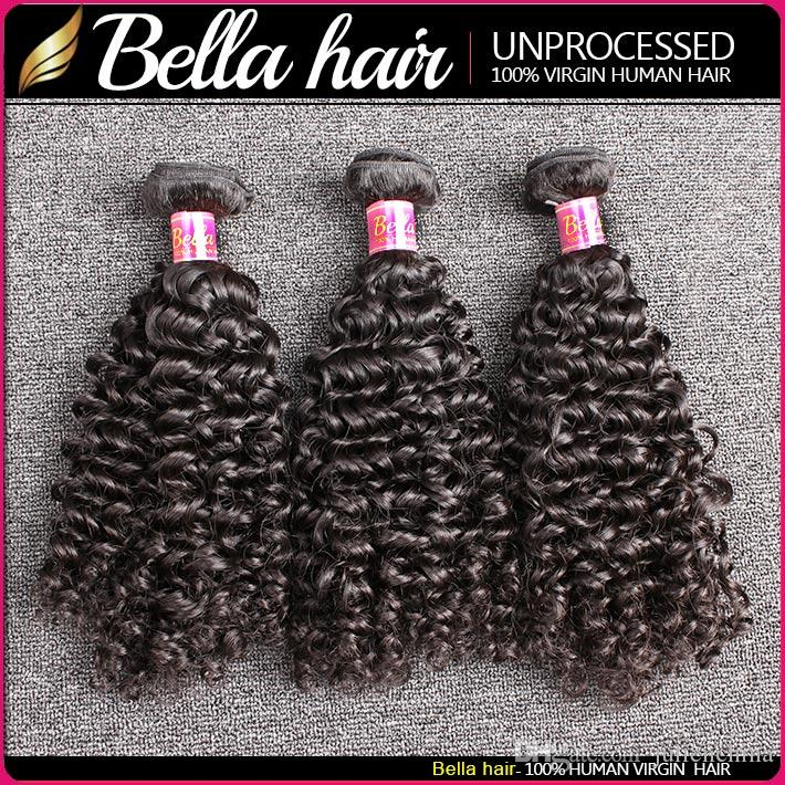 Bella Hair® 8A 8~30inch BrazilianHair Bundles Unprocessed Human Hair Double Weft Hair Kinky Curly Weave Black Color Hair Extensions