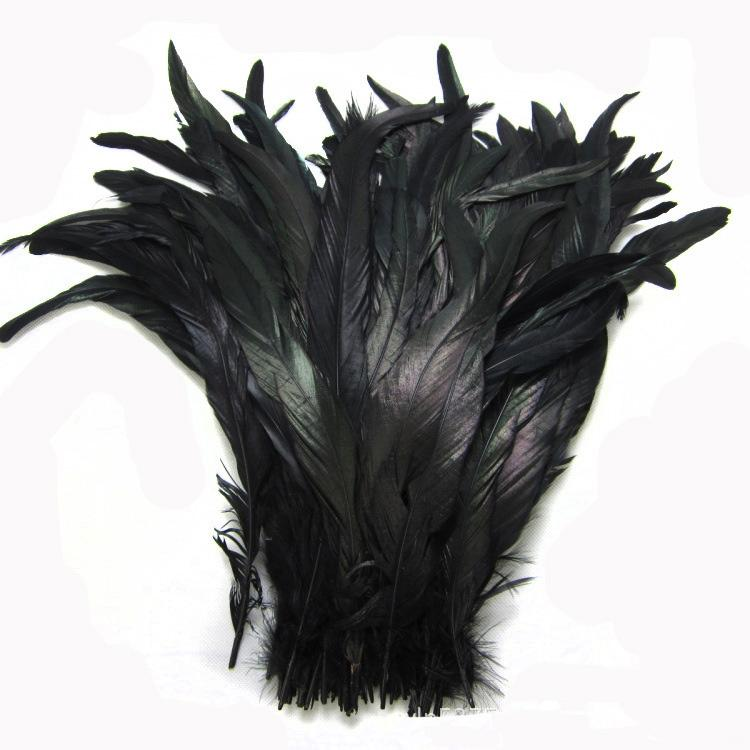 Wholesale 12-14inch black Coque feather rooster tail Feather cock feather for Costumes