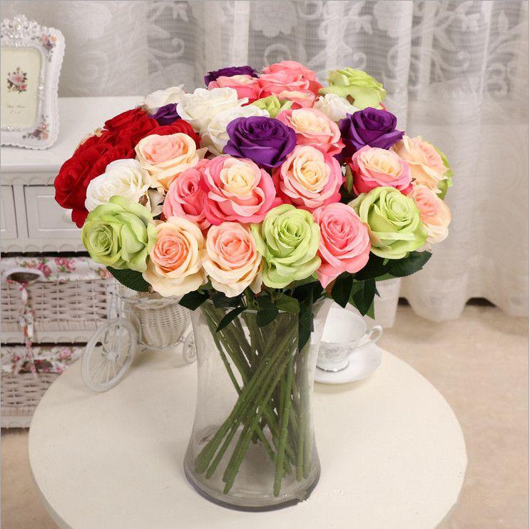 Décor Rose Fleurs Artificielles Fleurs En Soie Real Touch Rose Mur De Mariage Bouquet De Mariage Décoration De La Maison Parti Accessoire Flores