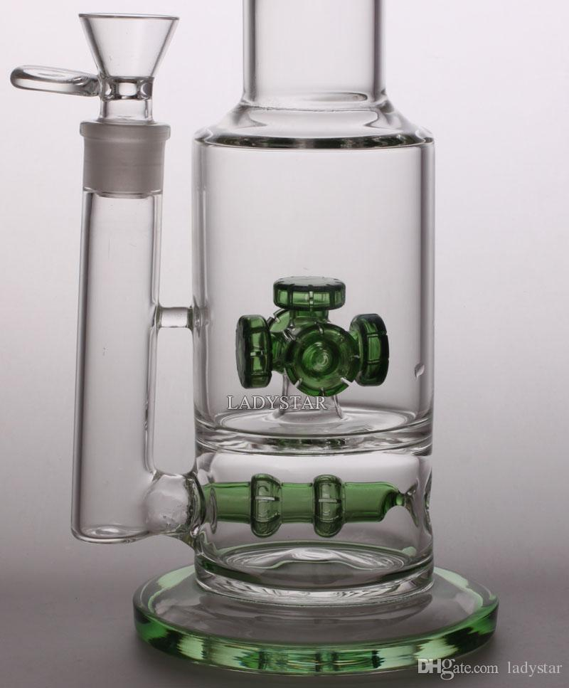 2015 New 34CM Two functions Glass Bong Glass Water Pipes Double Recycler Smoking Pipes Inline Percolator Tornado Perc 18.8mm bons L172A