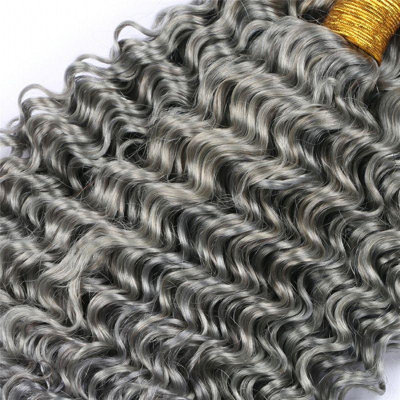 Dark Root 1B/Grey Ombre Brazilian Human Hair Weaves Deep Wave Wavy Silver Grey Ombre Virgin Human Hair Bundles Double Wefts