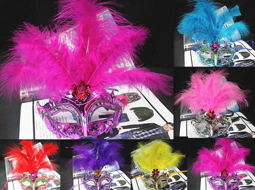 2015 Feather Princess Masquerade Party Mask Half Face Sharp Fashion Masks Halloween Christmas Supplier Mix Colors Cheap Price