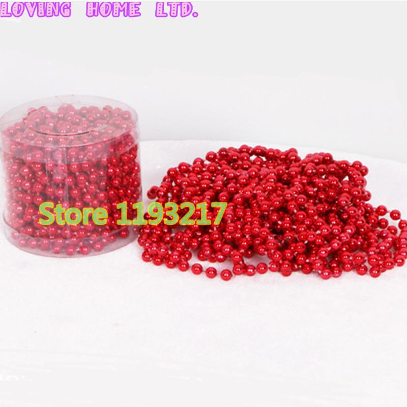 24ft8m 6mm vintage red hanging bead garland christmas tree xmas tinsel string chain ornament decoration red hanging bead garland christmas tree decor - Christmas Bead Garland