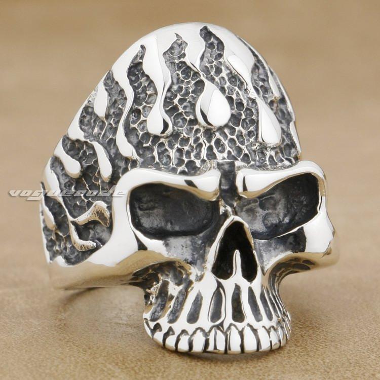 Flame Fire Skull 925 Sterling Silver Mens Biker Rocker Ring 8S005A US Size 8~14