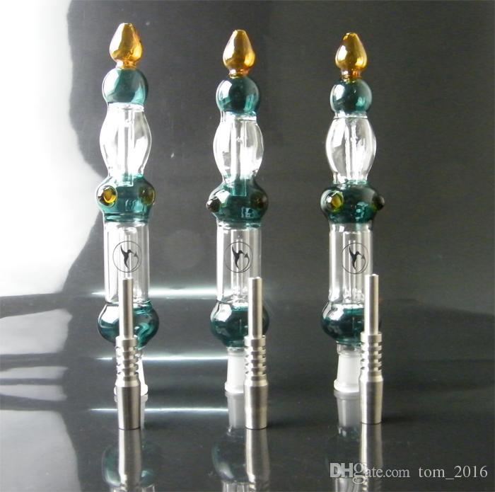 GR2 티타늄 손톱 컬러 오일 농축 파이프 유리 꿀 컬렉터 리사이클 유리 봉 DABS