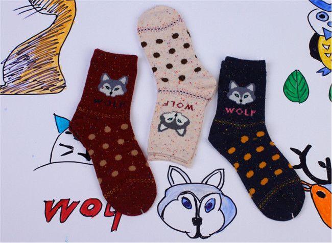 Middle Tube Cute Cat Fox Wolf Deer Elephant Cartoon Animal Graphic Printed Womens Fleece Wool Blend Knitting Socks