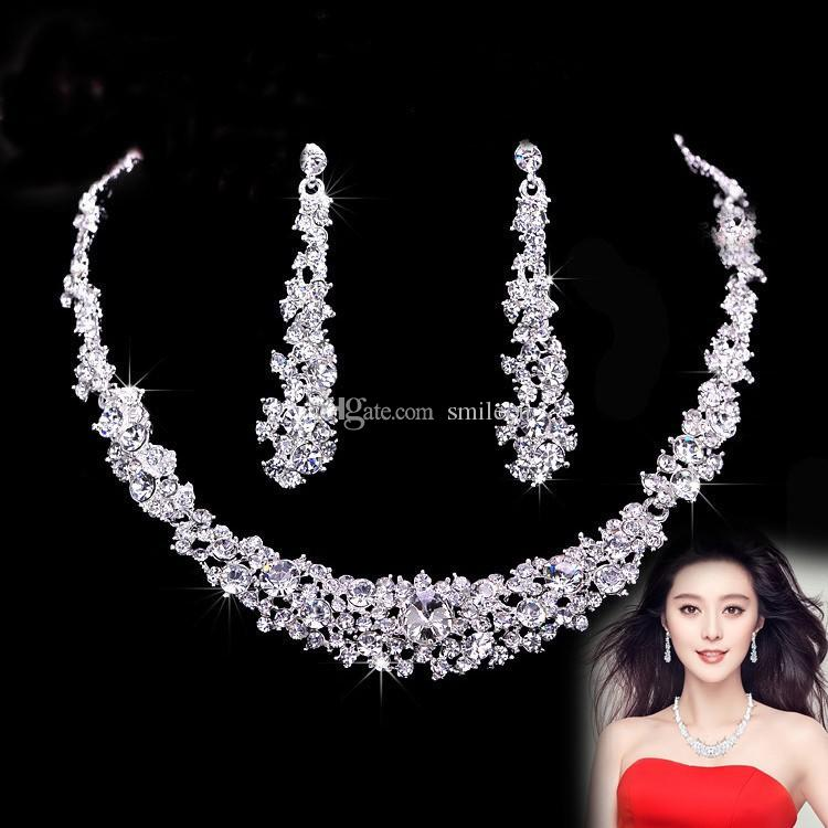 2018 Crystal Bridal Jewelry Set 925 Silver Plated Necklace Imitation