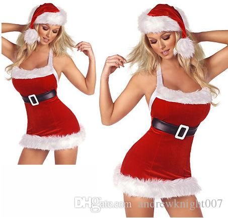 Hot Sale Cosplay Christmas Party Dress Kvinnor Present Sexig Kjol Jul Hat Hollween Ladies Dress Santa Claus Kostymer Gratis Storlek