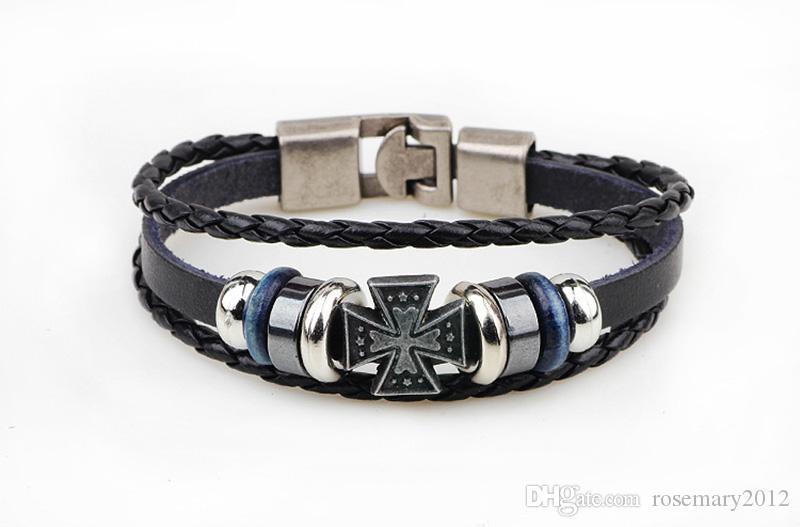 Hand-Woven Retro Cross Hand Bracelets Simple Braided Leather Wristband for Women Men Hand Chains Bracelet Ladies Bracelet Jewelry Wholesale