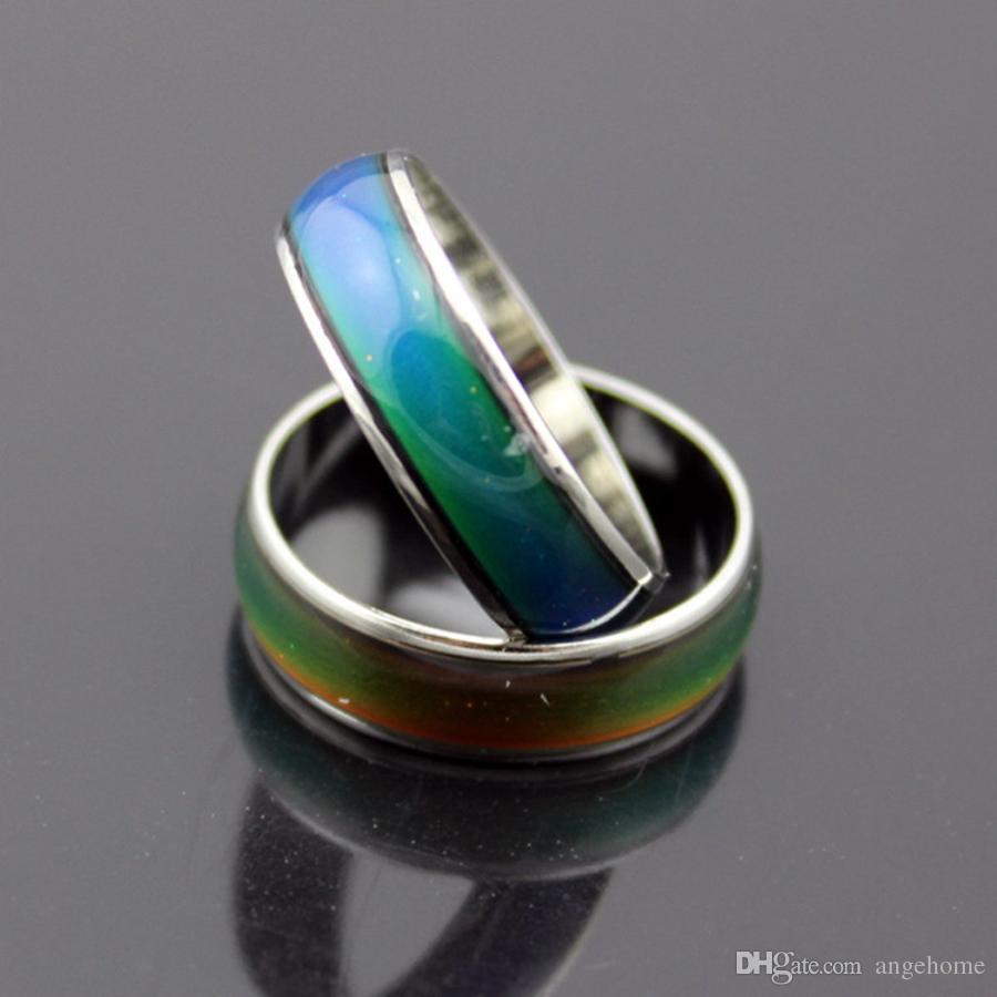100 шт./лот магия красочный цвет изменение эмоций настроение чувство кольца Кольцо из нержавеющей стали Мужчины Женщины изменение цвета настроение кольцо смешанный размер