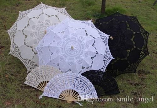 Hot Selling Wedding Lace Bridal Parasols and Fans Sets European Court Umbrella New Photography props Beautiful Bridal Accessories