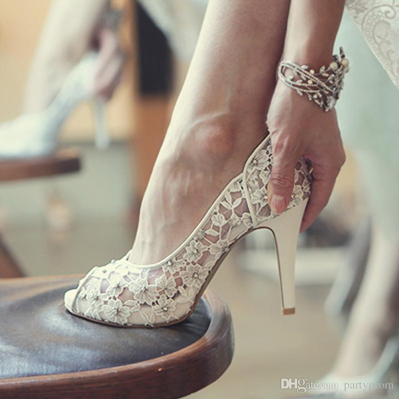 Bling Bling Flowers Wedding Shoes Pretty Stunning Heeled Bridal Dress Shoes  Peep Toe White Lace Crystal Hand Crafted Prom Pumps Bridal Shoes Wedge Heel  ...