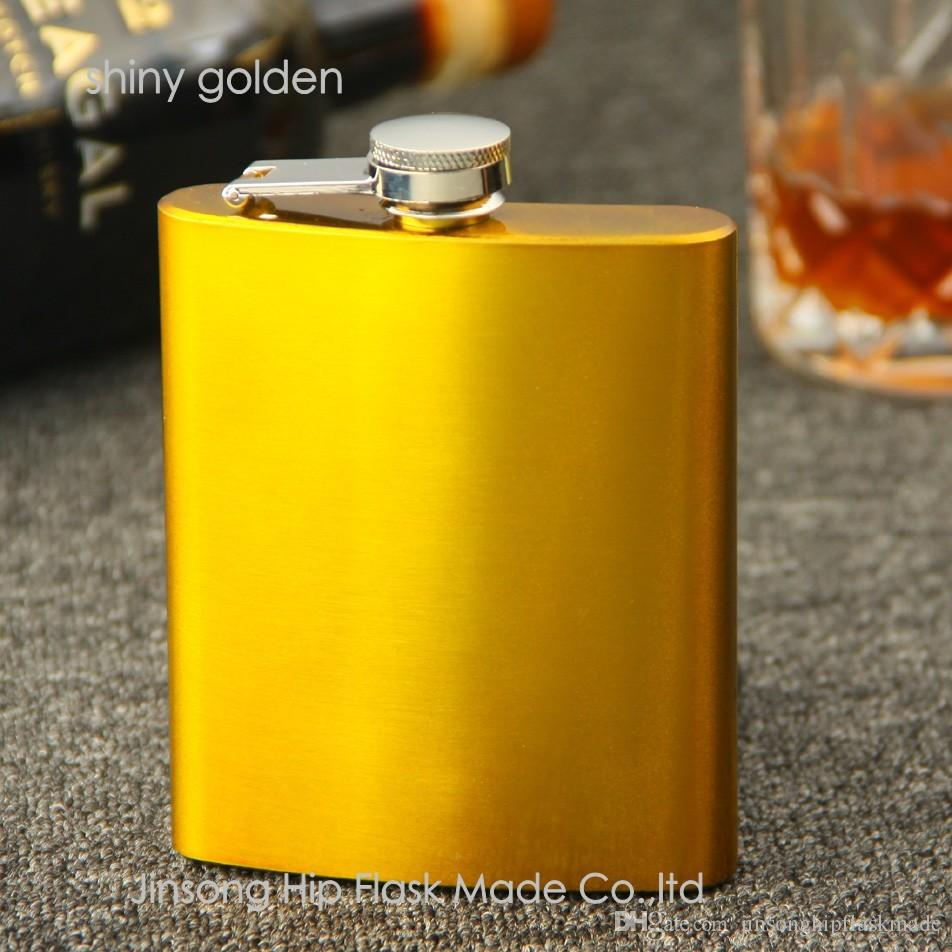 Blandat färgat rostfritt stål 7oz Hip-kolv, 12 färg kan väljas, personlig logotyp acceptera