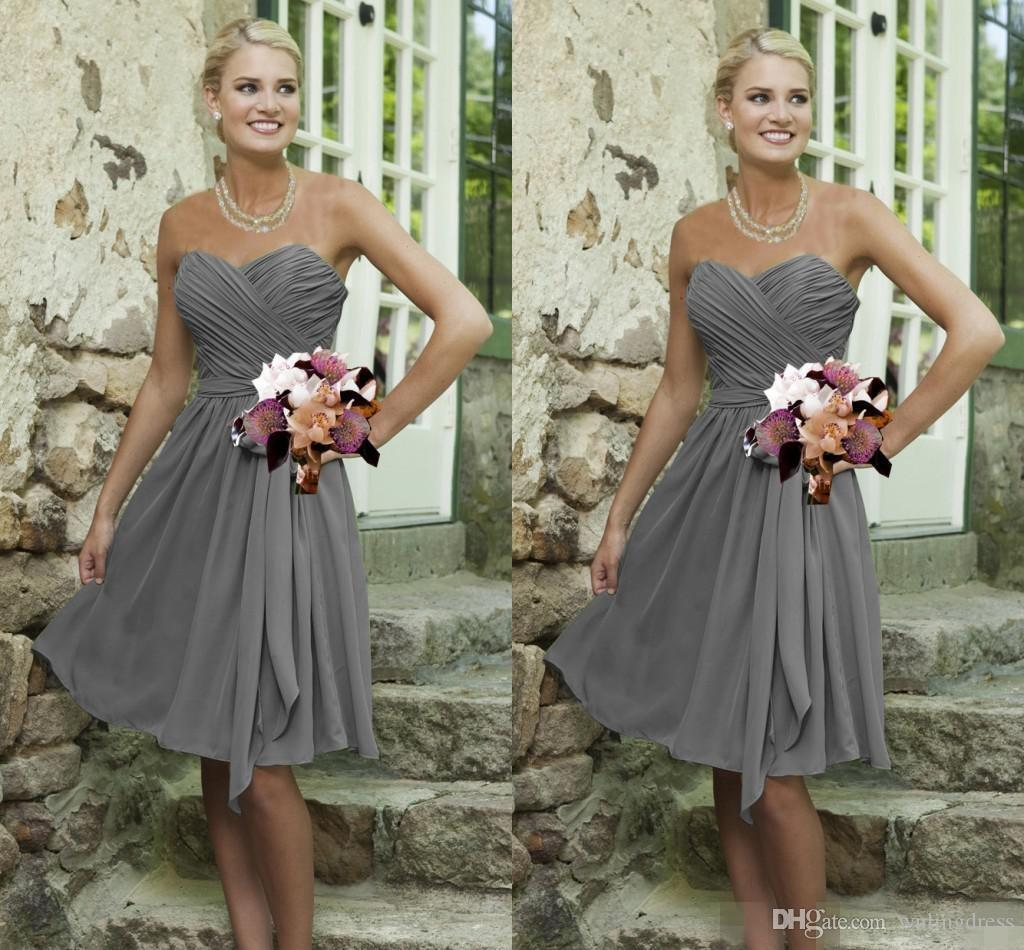 Sweetheart 2015 pure short bridesmaid dresses ruched pleats short wedding party dress gown grey design inexpensive bridesmaid dresses by color junior bridesmaid dress patterns from wulingdress 6687 dhgate ombrellifo Image collections