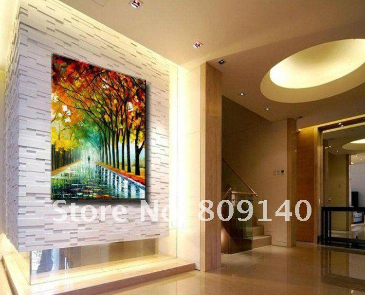 Oil Painting on Canvas Knife Abstract Scenery Landscape Artwork ...