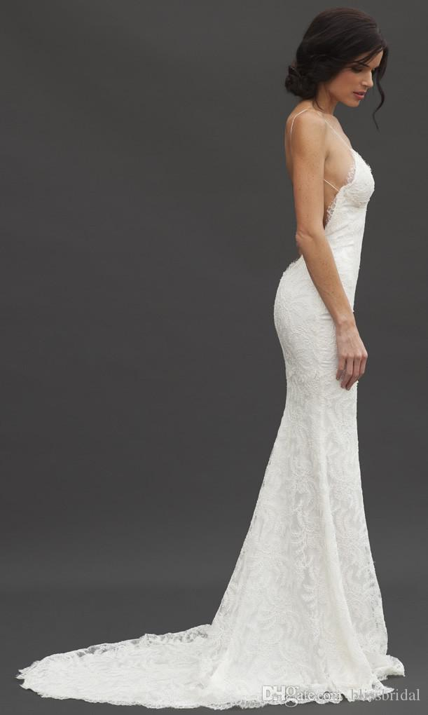 Romantic Sheer Lace Backless Bridal Wedding Dresses Spaghetti Straps Katie May New Design Summer Mermaid Garden Beach Bridal Gowns