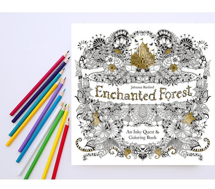 1 Set 12 Water Color Pencils Enchanted Forest Book Adult Stress Relieving Patterns An Inky Quest Coloring
