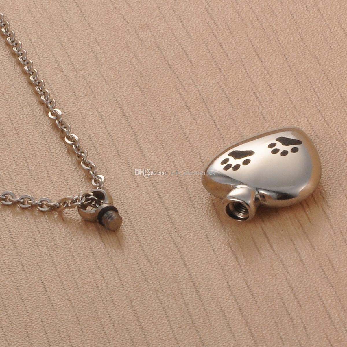 Lily Stainless Steel Pet Dog Paw Print Heart Cremation Urn Jewelry Necklace Memorial Pendant Ashes with gift bag and chain