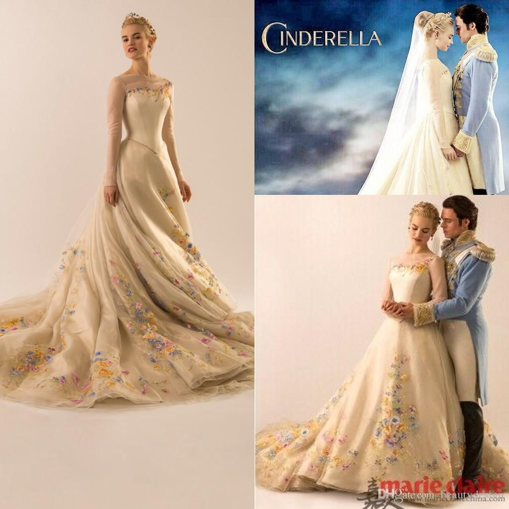 Cinderella Style Wedding Gowns: 2015 New Arrival Glamourous Movie Cinderella Fairy Tale