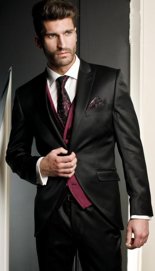 Black Wedding Suits For Men Peaked Lapel Grooms Tuxedos Three ...