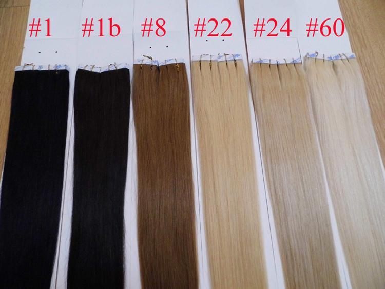 100g18 20 22 24 Inch Glue Skin Weft Pu Tape In Human Hair