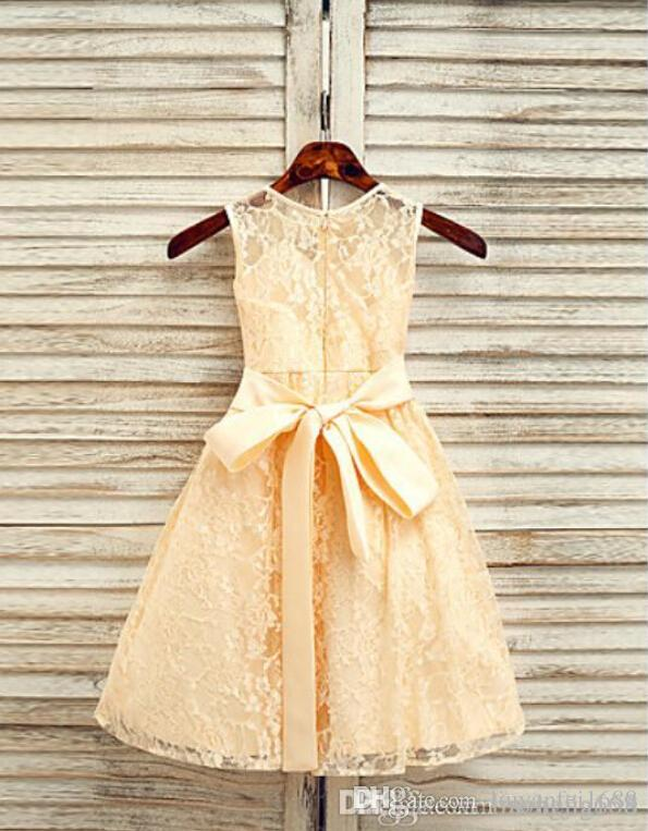 2015 New Real Pink Mickey Baby Clothes A-line Princess Jewel Ankle-length Lace Flower Girl Dress Halloween Easter Birthday Christmas Clothes