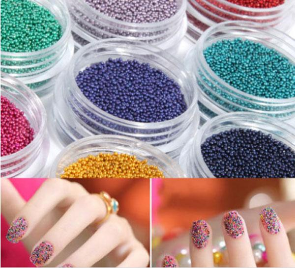 12 Mini Bottles Coloured Nail Art Beads Caviar Nails Art Manicures ...