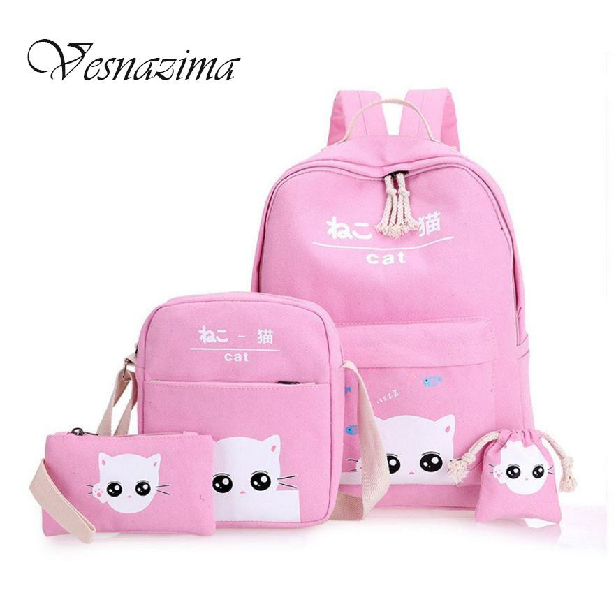 2ece611b9fa5 Vesnazima Cartoon Printing Backpacks For Girls School Bag Picnic Bags For Kids  Backpack Lovely Cats Rucksack Pink Mint Wm111yl Rucksack Purses From ...