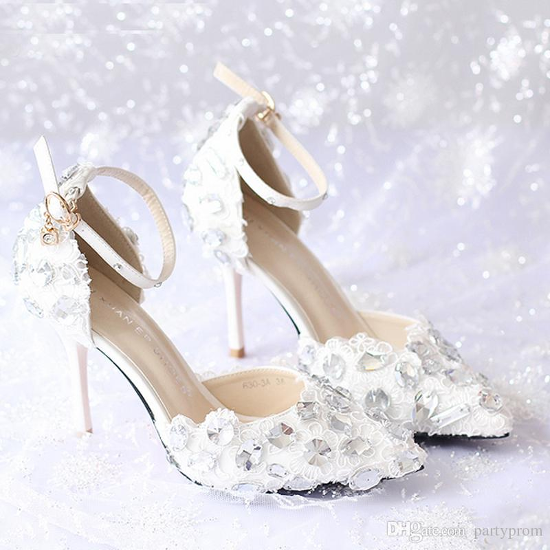Summer New Arrival Ankle Strap Lace Bridal Shoes White Thin Heels Prom Evening Party Shoes Rhinestone Gorgeous Women High Heels