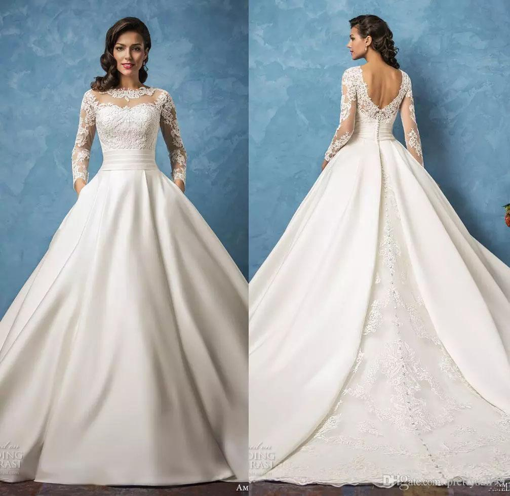 Elegant Amelia Sposa Lace Wedding Dresses 2018 with Pockets Long ...