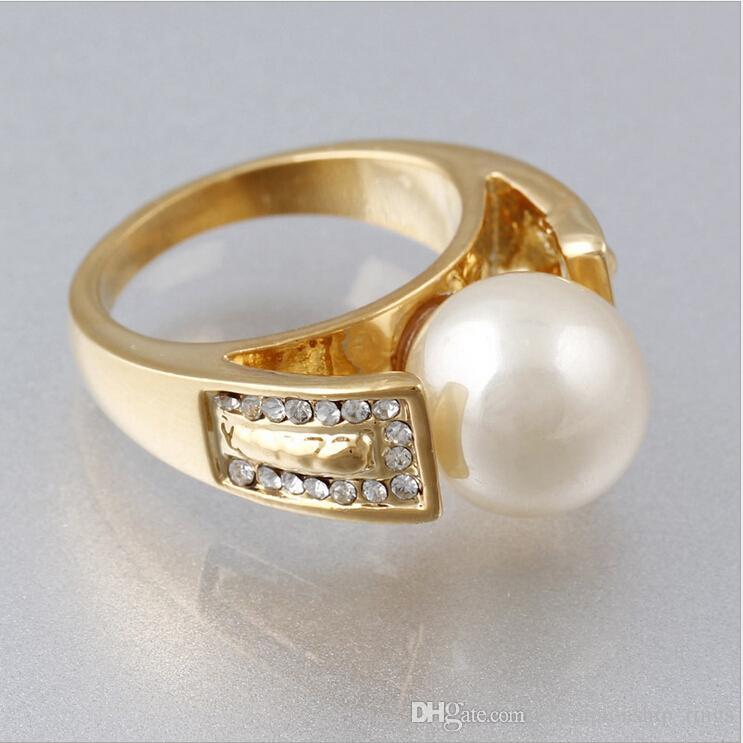 Tendance de haute qualité de la mode 24k plaqué or rétro mode bijoux bague charme beau cadeau d'anniversaire